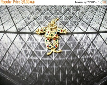 ON SALE Retro Gold Tone Mechanical Colorful Rhinestones Clown Pin 71116