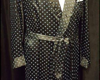 Vintage ~ Blue on Black ~ Art Deco ~ Smoking ~ Leisure ~ Robe ~ Polka Dot ~ L@@k!!!