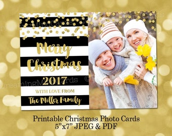 Printable Custom Merry Christmas Holiday 2017 Photo Cards Black and White Stripes Gold Confetti Digital Card