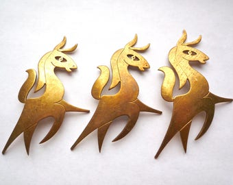 Bronze dancing horses, 2 solid brass vintage blanks, 3 inch (78 mms) horse stampings