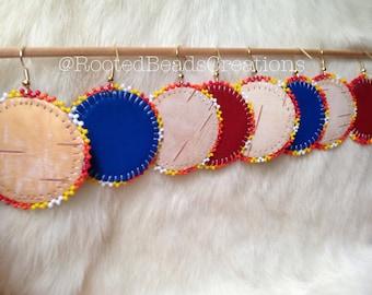 "Native American ""Burning Edges"" Beaded Earrings"
