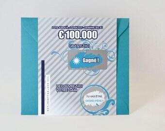 Grandpa pregnancy announcement - scratch - lottery ticket card