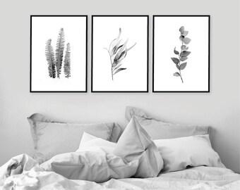 Set of 3 Downloadable Prints, Printable Art Set, Botanical Print Set, Botanical Prints, 3 Botanical Prints, Black White, Botanical Art Set