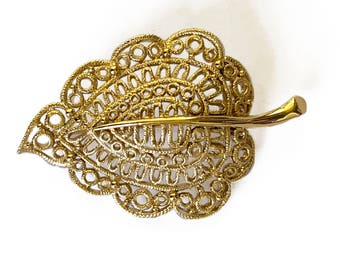 Monet Gold Tone Leaf Brooch
