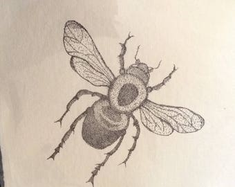 Reprint of a Buzy Bee fineliner drawing on handmade paper