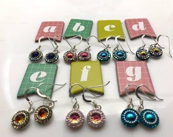 Dichroic Glass-Crystal-Drop Earrings-Sterling Silver Settings