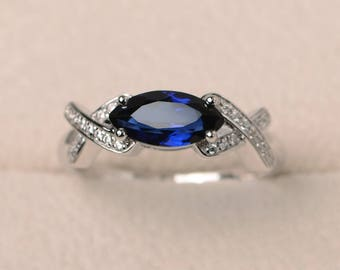 Blue sapphire ring, anniversary ring, September birthstone ring, marquise cut gemstone, sterling silver ring
