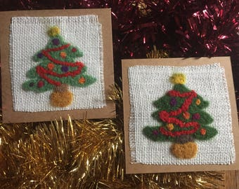 Beautiful Hand Made Felted Christmas Cards Christmas Tree Design