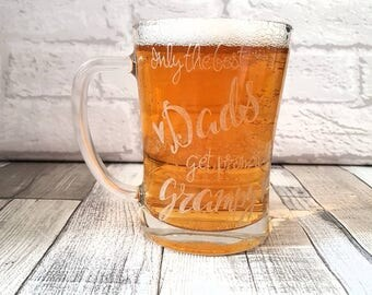 Only the Best Dads get promoted to Grandad/Gramps/Grampy/Grandpa - Engraved Tankard / Fathers Day Present