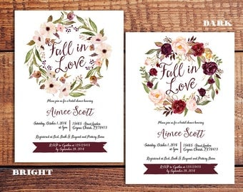 Marsala fall bridal shower invitation, Fall Floral Bridal Shower Invitation, Marsala Burgundy Bridal Shower, fall rustic autumn invitation