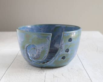 Inky Blue Pottery Yarn Bowl - Handmade Yarn Bowl - Stoneware - Ready to Ship