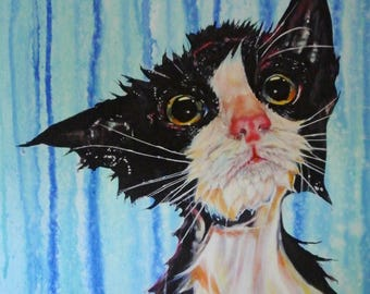 cat print, cat art, cat lovers gift, soggy moggy, cute cat art, kitten, feline print, birthday gift idea
