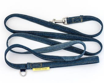Upcycled denim dog leash // casual, classic style with jeans stitching - silver metal - leash for small & medium dogs - gifts for dog lovers