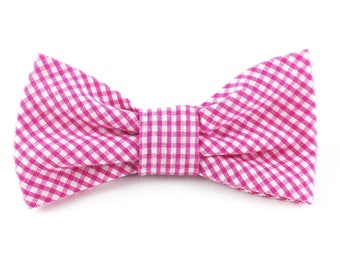"Gingham dog collar bow tie // pink and white gingham - fits 1/2""-5/8"" collar - small or medium dog - gifts for dog lovers"