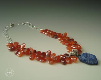 Carnelian, Sterling Silver and Lapis Lazuli Pendant Beaded Necklace