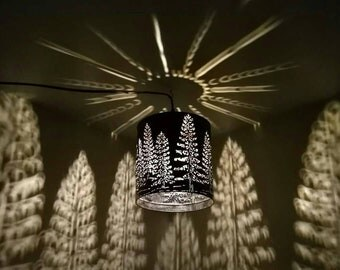 Tree Shadow Lamp Forest Pine Metal Art Pendant Light