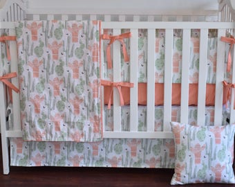 Peach Cactus Crib Bedding, Baby girl nursery, succulent, cacti, bumpers, skirt, valance, pillow, rail guard, blanket