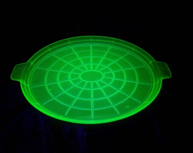 """Uranium Green Glass Tray, Spiders Web Pattern, Frosted Pressed Glass Trinket Tray, Matching Pieces Available Excellent Condition 13.25"""" x 9"""""""
