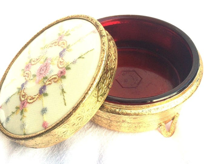 """Regent of London Powder Pot, Footed Powder Jar, Ruby Red Glass, Gold Plated Metal Jar, Petit Point Embroidered Lid, Circa 1940, 4"""" x 2.25"""""""