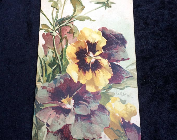 Catherine Klein Postcard, Artist Signed (Underlined) Purple Yellow Pansies, No Writing on Reverse, Good Condition, Circa 1910, Series 6119