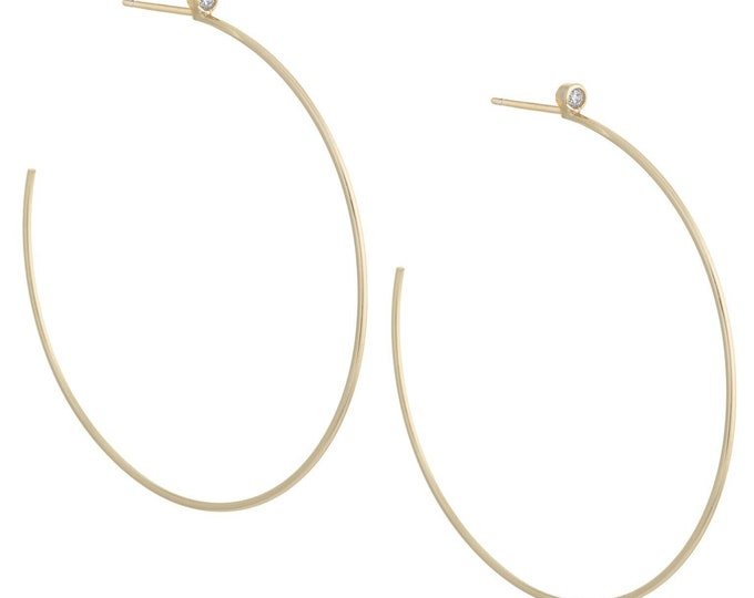 Sterling Silver, Gold Plated & hoop Stone, Sterling Stone hoops, Silver hoop earrings, Gold plated hoops, Cz Stone hoops