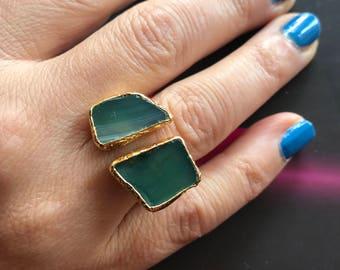 Gemstone ring, Quartz ring, Double stone ring, Adjustable ring, Green ring