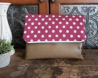 Large Fold Over Clutch Bag - Raspberry Dots with Tan Vegan Leather Bottom, Foldover Zipper Clutch, Raspberry Dots Clutch Bag