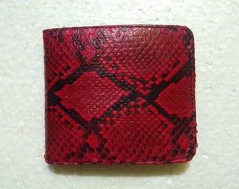 Snakeskin Leather Wallets For Men. RED PYTHON WALLET. Men's Snake Skin Slim Bifold Wallet Free Shipping