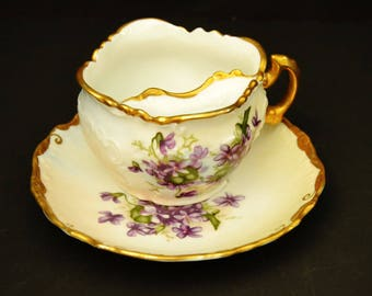 Purple Violets Mustache Cup with Saucer - JP1200