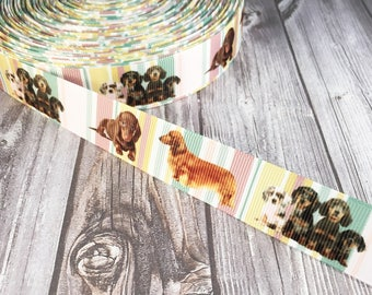 "Dachshund ribbon - 7/8"" Grosgrain ribbon - Dog ribbon - I love dogs - Hot dog ribbon - Weiner dog ribbon - Dog headband DIY - Dog bow DIY"