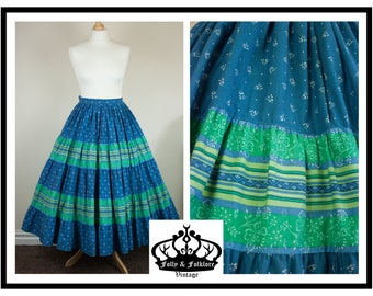 Amazing 70s does 50s Tiered Peasant Skirt in Blue and Green, Full Skirt, Circle Skirt, Folkloric Skirt, Size XS / S