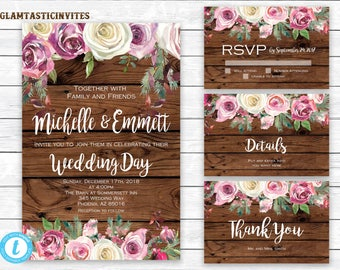 Wedding Invitation Template, Wedding Template, Rose Wedding Invite, Rustic Wedding Invitation Template, Wedding Invitation Set,Template