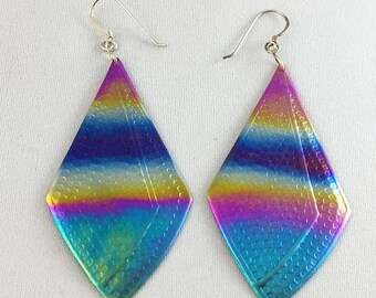 75% Off Sale Vintage Titanium Heat Treated Rainbow Earrings Large, #TEf-1