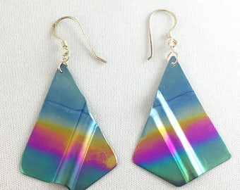 75% Off Sale Vintage Titanium Heat Treated Rainbow Earrings Large, #TEn-1