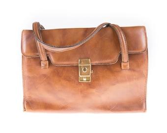 80's Brown Leather Handbag, Day Bag