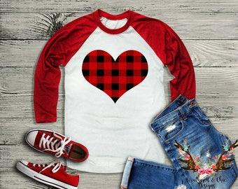 Women's Plaid Heart Raglan // Bella + Canvas Raglan // Valentines Shirt // Buffalo Plaid // Plaid Valentines Shirt