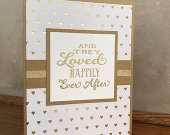 Wedding Card-Happily Ever After-Wedding Shower Card-Bridal Shower Card-Anniversary Card-Bride and Groom Card-Love Card-Blank Wedding Card