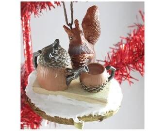 Tea Time - A Squirrel Ornament