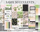 Sassy Succulents Planner Sticker Kit Collection - For use in Erin Condren, Happy Planner, Plum Paper, Filofax, Kikki K, Calendar, TN, ECLP