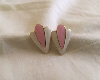 Vintage Sweet Pink and White Enamel Earrings