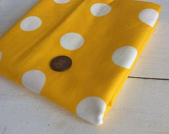 Yellow Polka Dot Fabric Piece - Yellow and White Fabric - 106 x 110 cm - Craft Fabric - Sewing Fabric - Yellow Spotty Fabric