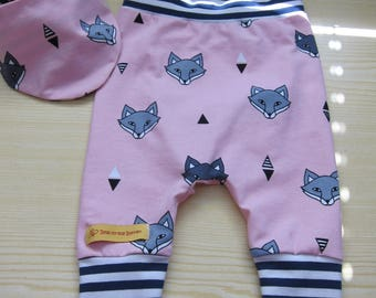 Pink Foxes Baby Bloomers pants set 56-62 cm