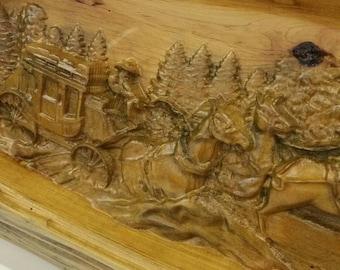 Cedar Half Log  Stagecoach Carving