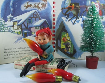 Vintage Christmas Lightbulbs Flame Candelabra Replacement Lamps NOS Art Red & Yellow Nostalgic Holiday Craft Electric Decor Supplies Gift