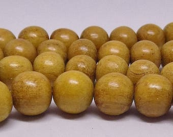 """Honey Colored 10mm Round Natural Wood Beads (16"""" Strand)"""