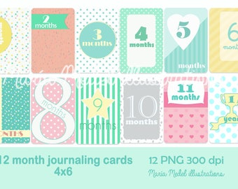Printable journaling or project life baby cards-  baby+12 months+7 framed cards