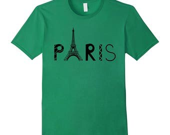Vintage Paris Tshirt I Love Travel Wanderlust Eiffel Tower