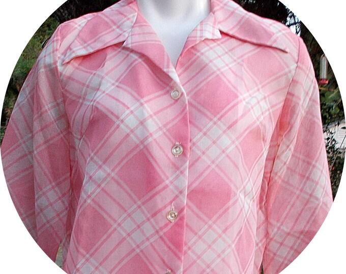Vintage 70s Preppy Secretary Pink White Cotton Blend Diagonal Stripes Sheer Womens Long Sleeve Blouse Shirt Top M