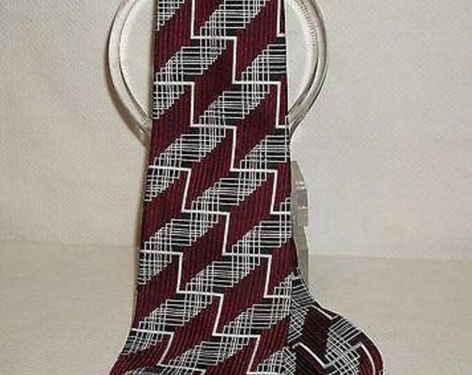Vintage 70s 80s Mens Original Gentleman Geometric Black White Red Silk Mens Wide Necktie Neck Tie