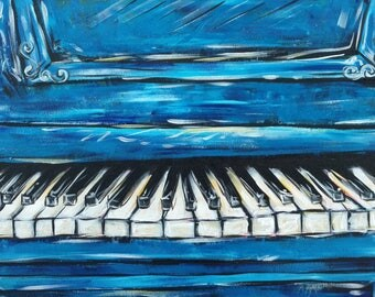 Blue Jazz Piano, Music Art, Musician Paintings, Vintage NOLA, Abstract Symphony, Contemporary Blues, New Orleans, Modern Art